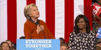 First Lady Michelle Obama and Clinton Campaigning Together in North Carolinian