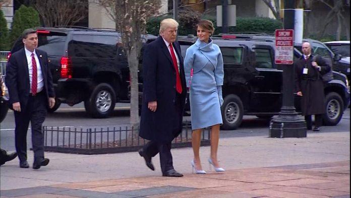 Melania Trump Wears Sky-Blue Cashmere