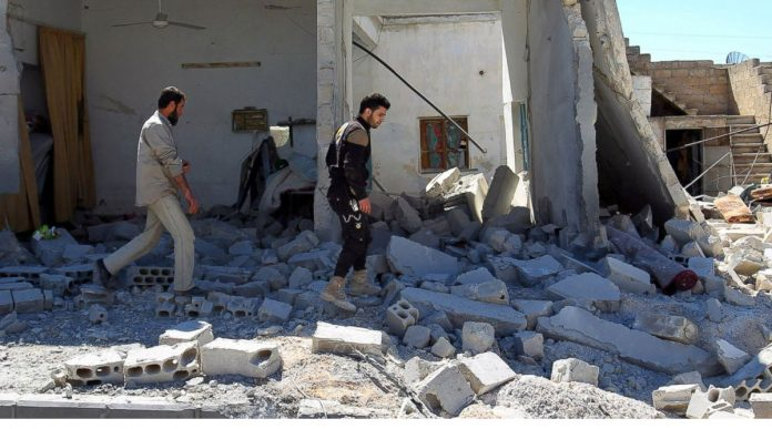 Warplane Strike Syrian Town Hit by Chemical Attack