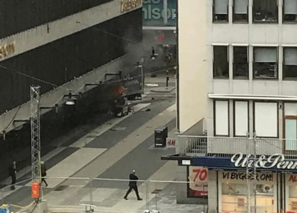 truck drives into crowd in Swedish capital