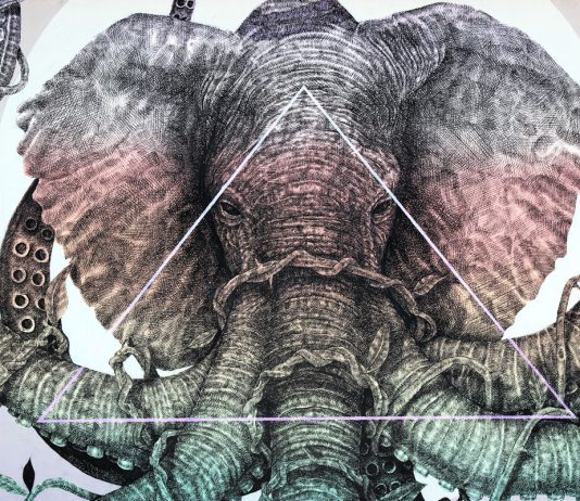 Alexis Diaz's Elephant with Octopus Tentacles Mural in Wynwood Walls