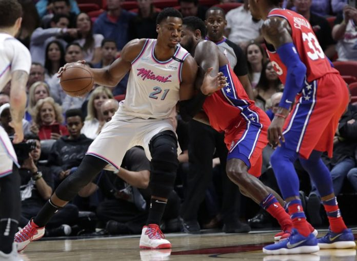 Whiteside, Wade Carry Heat Past 76ers, 108-99