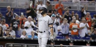 Stanton 2 Hits, Chapman Exits, Yank Top Marlins in 12, 2-1