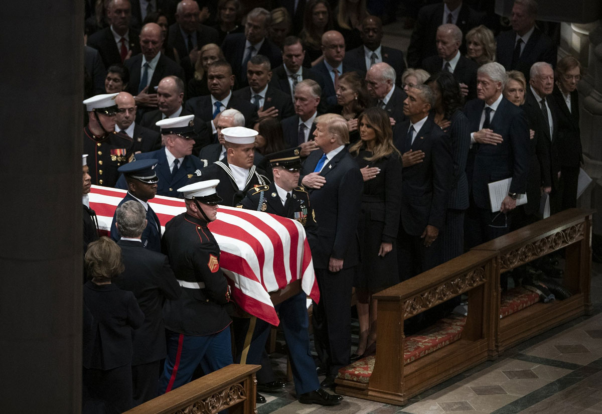 Nation Bid Goodbye to Bush with High Praise, Cannons, Humor